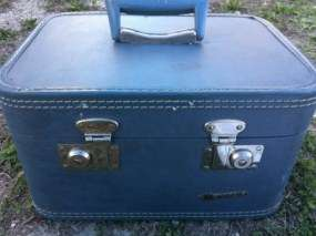 Retro Monarch Blue Traincase Train Case Suitcase Luggage