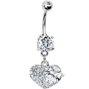 Clear Gem Half My Heart Belly Ring Jewelry