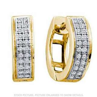 LADIES YELLOW GOLD DIAMOND FASHION HUGGIE HOOP EARRINGS
