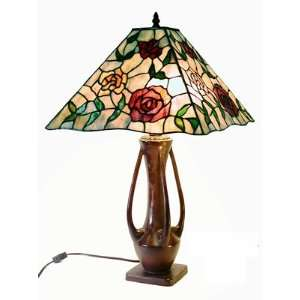 Tiffany Style Rose Mission Style Table Lamp