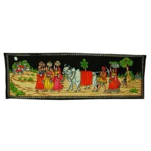 Indian Hand Painting Village Scene Wall Hanging Tapestry Runner With