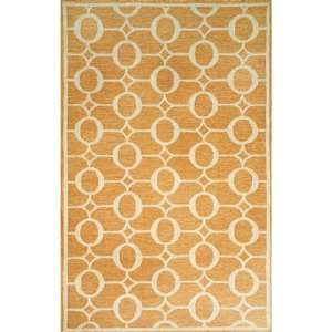 Indoor/Outdoor Hand Tufted Area Rug Arabesque 8 Square Orange Carpet