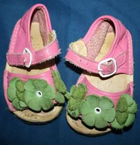Toddler 5 fits 6 HOT PINK GREEN Flower LEATHER Summer Sandals Shoes