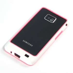 Pink + White / Plastic Bumper Case for Samsung Galaxy SII / S2