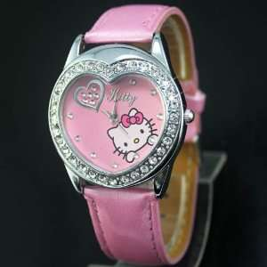 Hello Kitty Pink Heart Shape Crystal Wrist Watch + Free