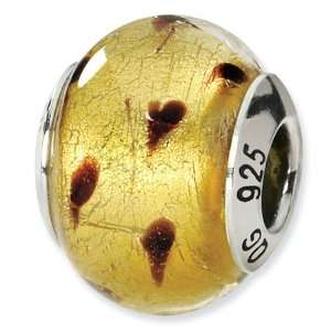 925 Silver Gold Brown Italian Murano Glass Charm Bead Jewelry