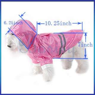 New Pet Dog Rain Coat Hoodie Hooded Raincoat Clothes Apparel All Size
