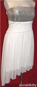~sexy~WHITE/SILVER~cocktail~SEQUIN~CHIFFON~formal~PARTY~wedding~DRESS