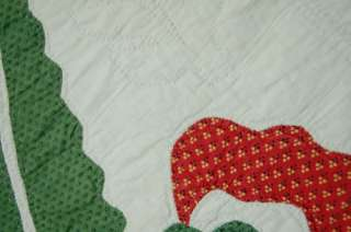 Pre Civil War Coxcomb Red Green Applique Antique Quilt