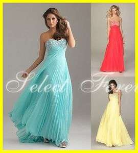 2012 Custom Floor Length Light Blue Chiffon Beads Long Evening Prom