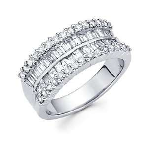 Size  12.5   14k White Gold Diamond Channel Set Anniversary Wedding