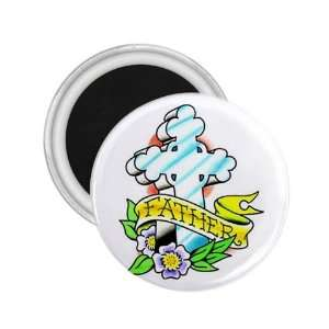 Tattoo Cross Father Art Fridge Souvenir Magnet 2.25