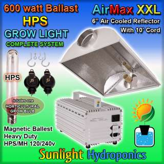 NEW 600 WATT HPS GROW LIGHT SYSTEM 600W 6 REFLECTOR HOOD SUN 120V