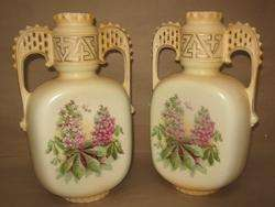 Art Deco Double Lattice Handle Phlox and Dragonfly Vase Bird Mark NR