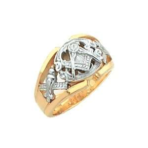 Mens Vermeil Masonic Freemason Mason Ring (Size 11