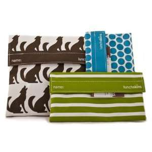 in Brown Wolf) and Two Snack Bags (in Green Stripe & Aqua Polka Dot