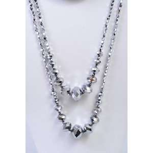Silver Two Piece Sparkling Down Lounge Necklace