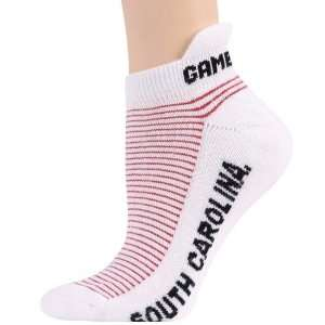 South Carolina Gamecocks Ladies White Garnet Striped Ankle