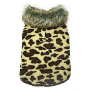 Adorable Padded Leopard Print Dog Vest with Fur Collar   M