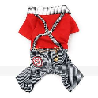 Pet Dog Cat Apparel Clothes Red Shirt jean Stripe Pants Jump Suit