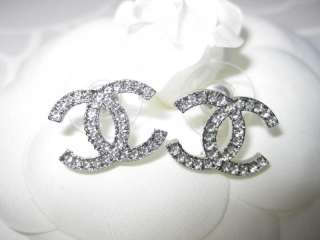 AUTH CHANEL SWAROVSKI CRYSTAL LARGE CC LOGO EARRINGS
