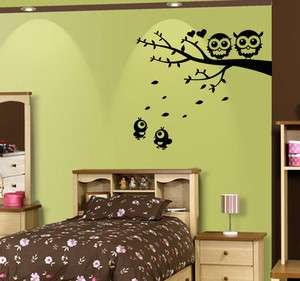 Nursery Wall Decor Art Vinyl Decal Sticker Owl Tree Branch With Birds