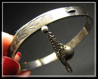 ANTIQUE IMPERIAL Russian 84 ST SILVER ETCHED BRACELET BANGLE 1880s