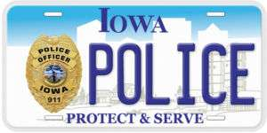 Iowa Police Aluminum Car Novelty License Plate