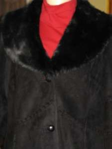 189 COLDWATER CREEK WOMENS MISSES WINTER BLACK FAUX FUR COAT JACKET