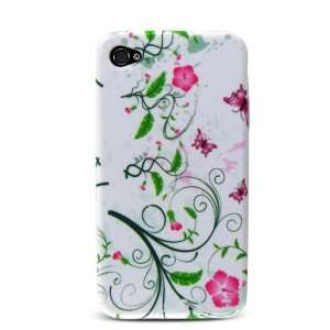 Flower Design Soft Silicone Skin Gel Cover Case for Apple Iphone 4 4g