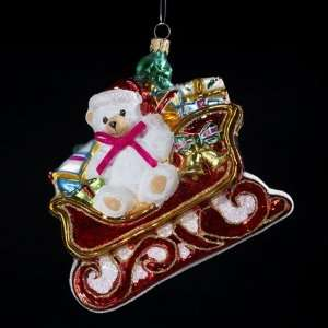 White Teddy Bear in Sleigh Polonaise Christmas Ornament 5