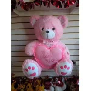 32 Valentine Pink Teddy Bear with I Love U Heart Toys & Games