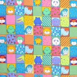 44 Wide Zoo Parade Flannel Zoo Babies Blocks Multi Fabric