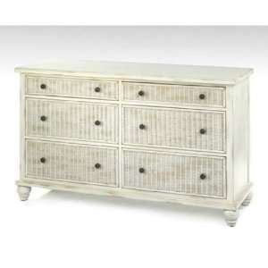 White Craft M216006 Cabbage Six Drawers Dresser in Weathered White