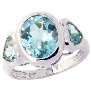 14K White Gold Oval and Heart Three Stone Ring Sky Blue