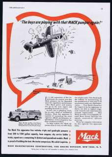 1941 Mack Pumper Semi Cab Fire Engine Truck Texas Ad