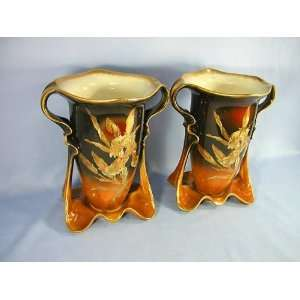 Pair Large Royal Bonn Art Nouveau Style Vases