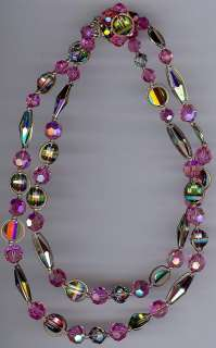 VINTAGE BEAUTY PINK CRYSTAL GLASS PAGODA BEAD NECKLACE