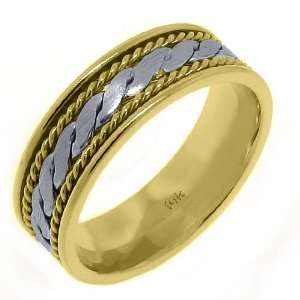 14K Two Tone Gold Mens Wedding Band 7mm Braided Jewelry