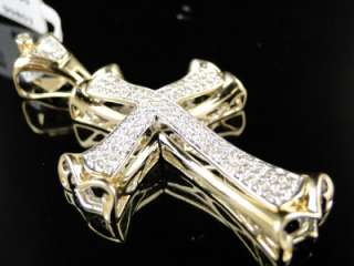 14K MENS YELLOW GOLD CURVED DIAMOND CROSS PENDANT 1 CT
