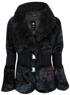 WOMENS LADIES SOFT FAUX FUR WARM WINTER BLAZER JACKET COAT TOP SIZE 8