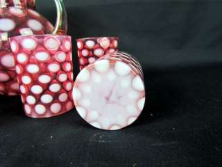 Cranberry Coin Dot Opalescent Art Glass Lemonade Pitcher 6 Tumblers