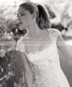 mermaid lace short sleeve wedding dress bridal gown bow sash Custom