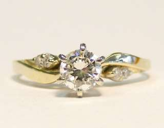 MINT 14K YELLOW GOLD .40cttw SOLITAIRE DIAMOND ENGAGEMENT RING w