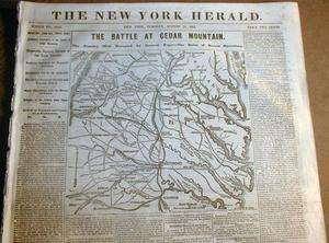 1862 Civil War newspaper w Large Map BATTLE of CEDAR MOUNTAIN Culpeper