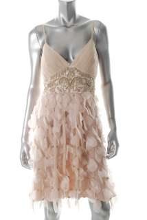 Sue Wong NEW Beige Formal Dress Pintuck Embellished 8