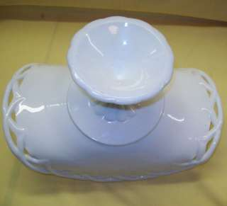 BANANA Dish STAND Fluted Pedestal MILK Glass BOAT Bowl