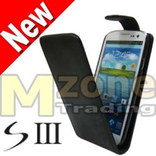 Black Flip Leather Case Cover Pouch For Samsung Galaxy S3 S 3 SIII