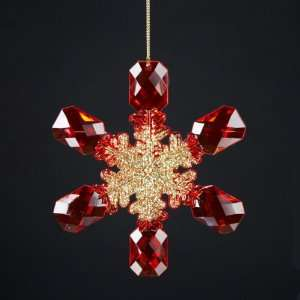 Club Pack of 12 Red and Gold Faceted Snowflake Christmas Ornaments 5.5