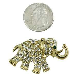 Goldtone with Rhinestone Elephant Brooch Pin Jewelry